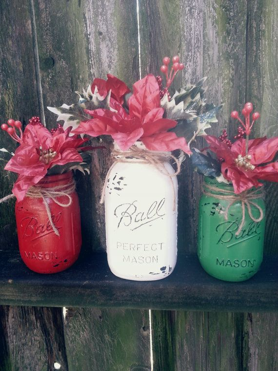 Red green and white Christmas mason jar vases. Distressed Acrylic hand painted mason jars. by SarahDisneyDesigns