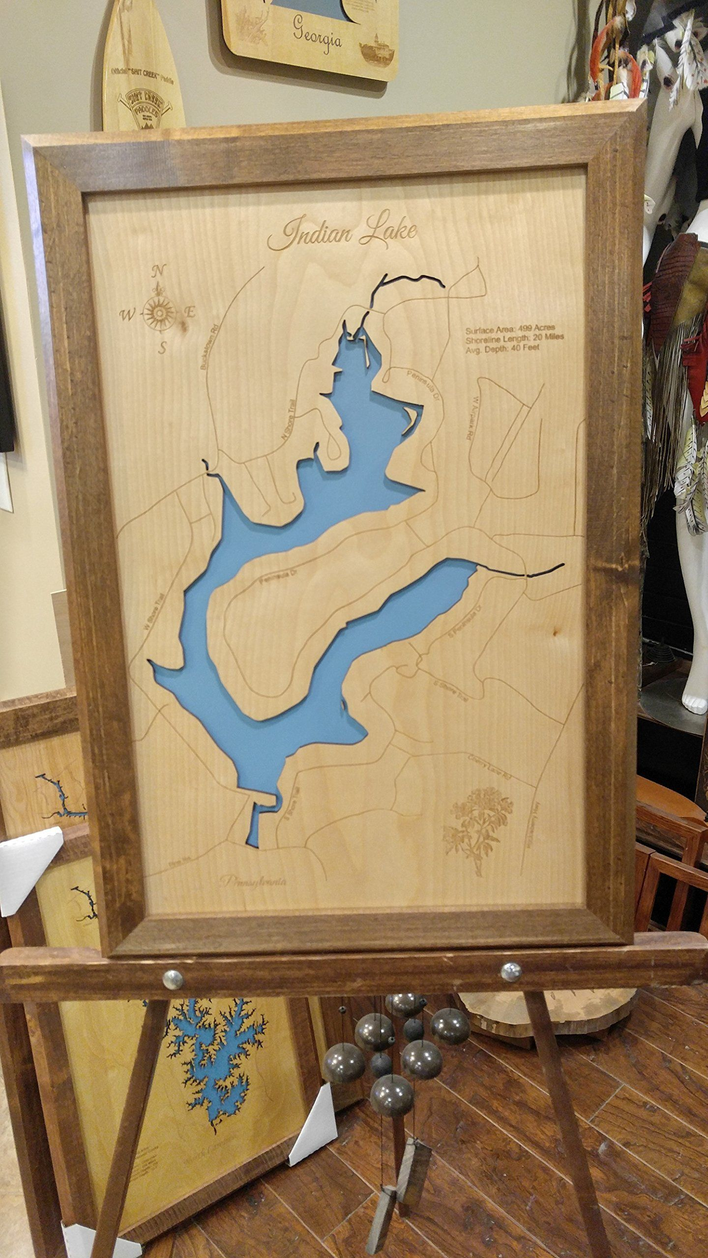 Indian Lake, Pennsylvania: Framed Wood Map Wall Hanging. This is a ...