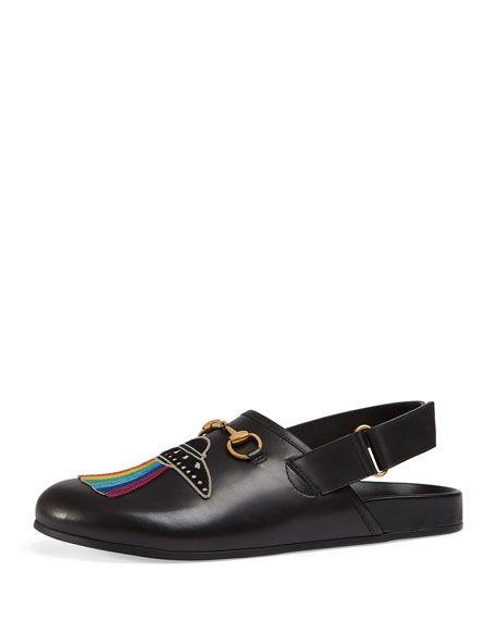 a7ac912e73c15 GUCCI River Horsebit Leather Slipper With Appliqués, Black. #gucci ...