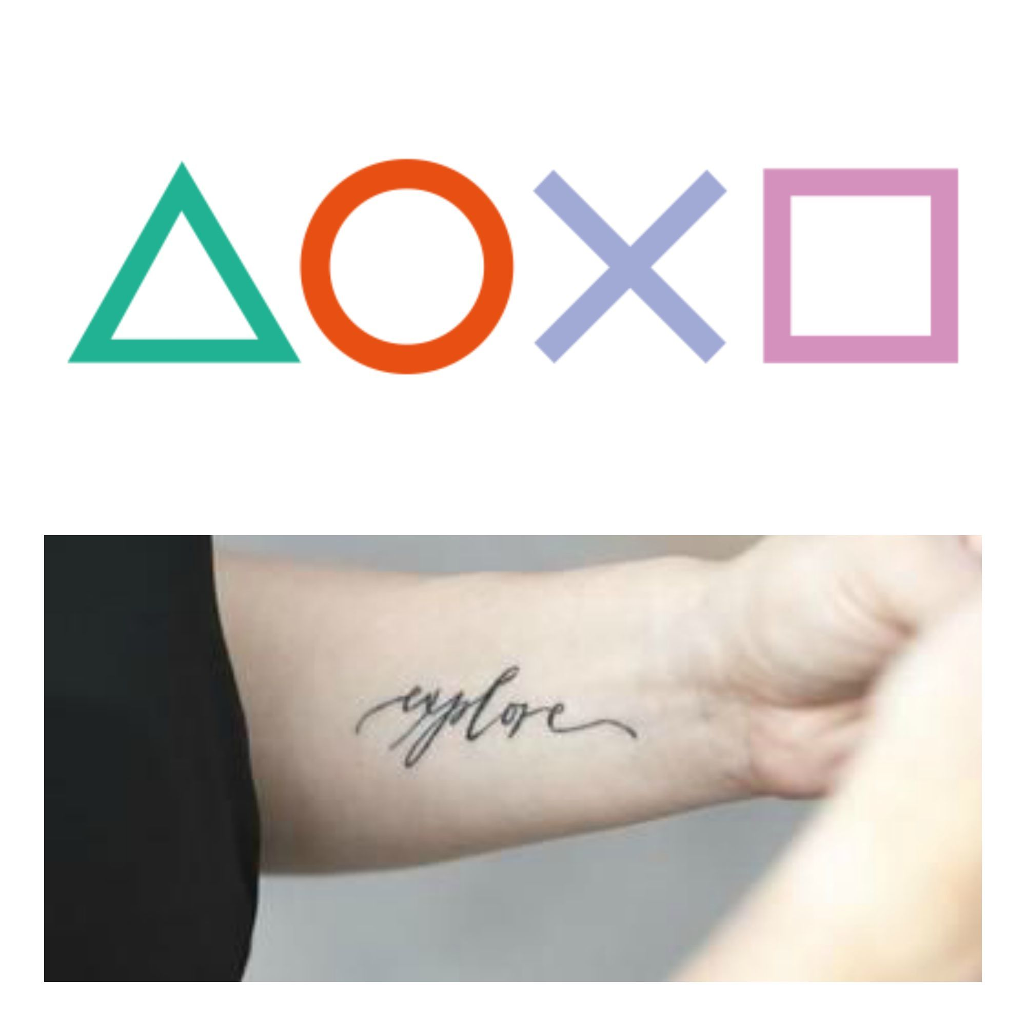 PlayStation buttons tattoo. The symbols will be thinner ...