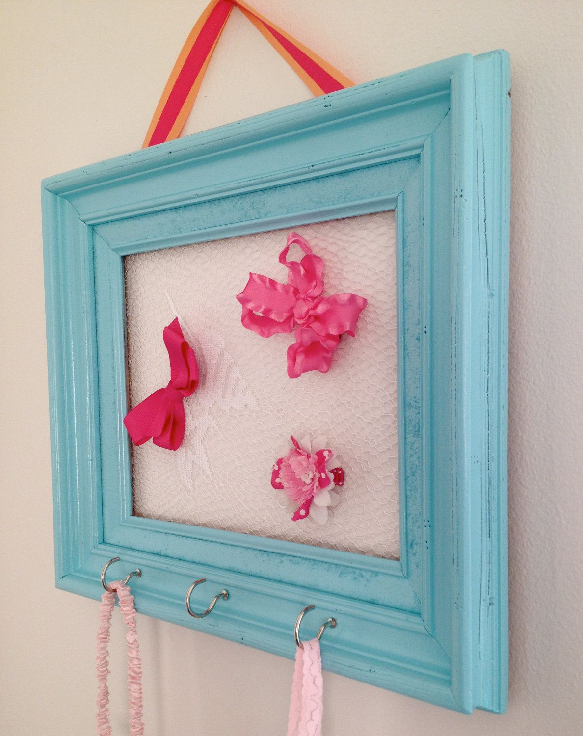 Turquoise Lace Frame Hair Bow Holder Hair Clip Organizer Jewelry ...