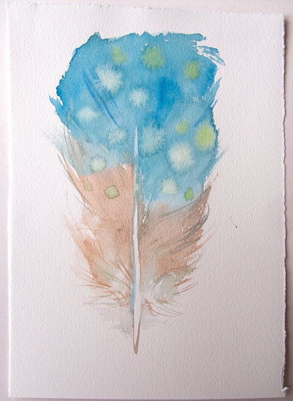 Blue Beige Feather Illustration Watercolor Painting Original