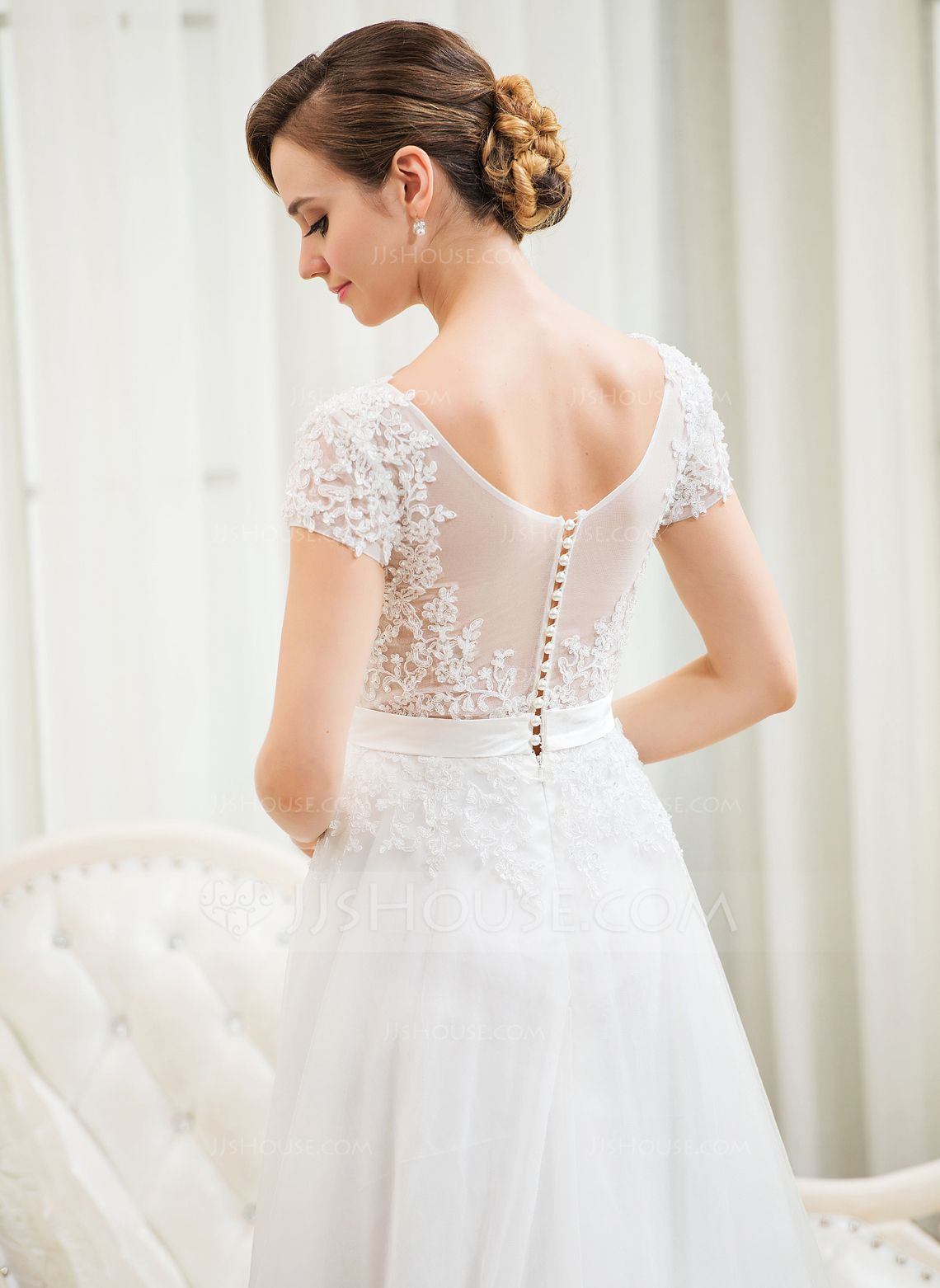Us 216 00 A Line Princess Scoop Neck Sweep Train Tulle Lace Wedding Dress With Beading Sequins Jj S House Elegant Long Sleeve Wedding Dresses Ball Gowns Wedding Wedding Dress Long Sleeve [ 1562 x 1140 Pixel ]