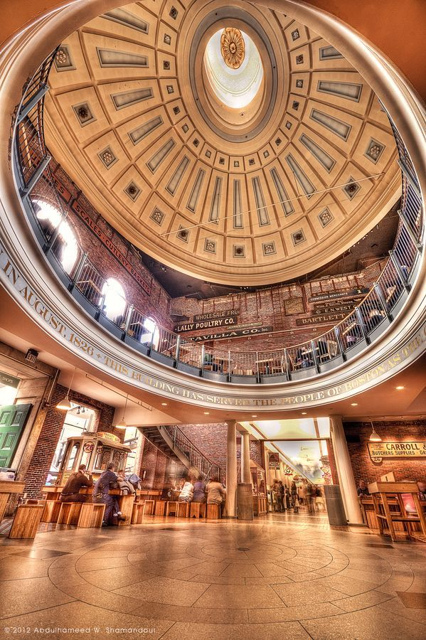 Quincy Market is a historic building near Faneuil Hall in