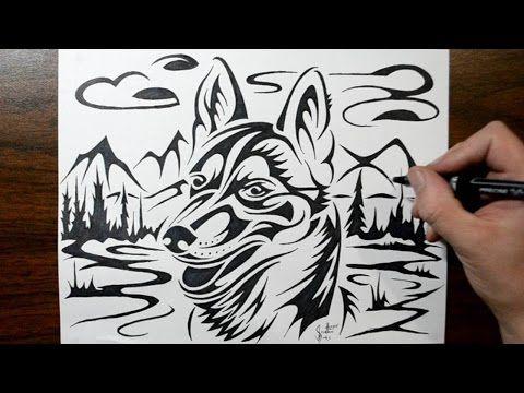 e90464c50 How to Draw a Husky Dog - Tribal Tattoo Design Style - YouTube ...