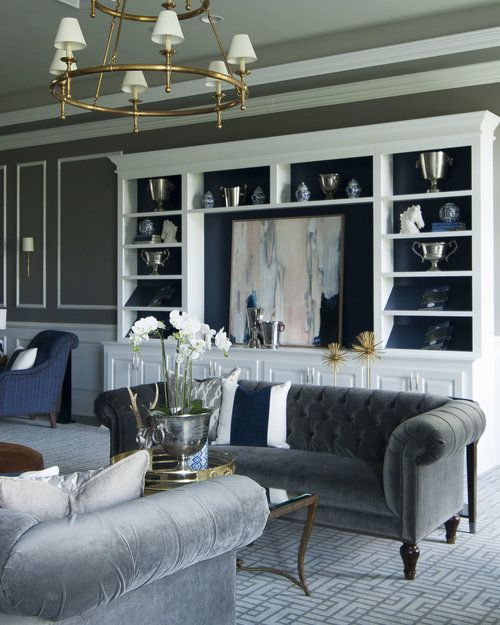 Stephanie Kraus Designs Blue And White Living Room A: Stephanie Shaw Design: Navy And Gray Living Room. Gray