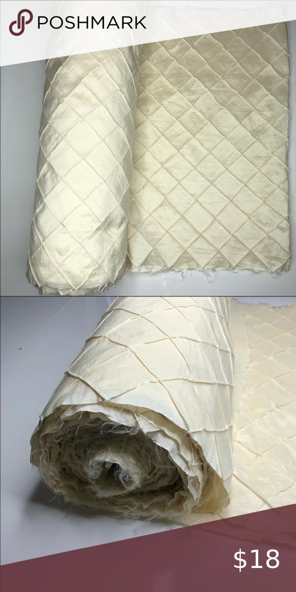 "6 yds of Ivory pintuck taffeta fabric, 23"" wide"