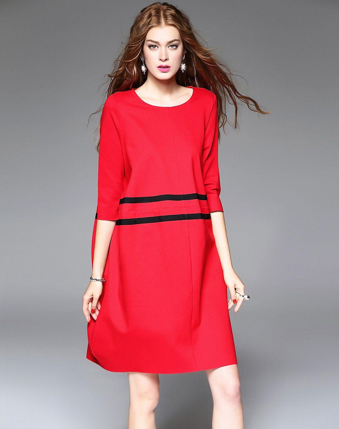 Adorewe mojaser red round neck 34 sleeves stripes midi