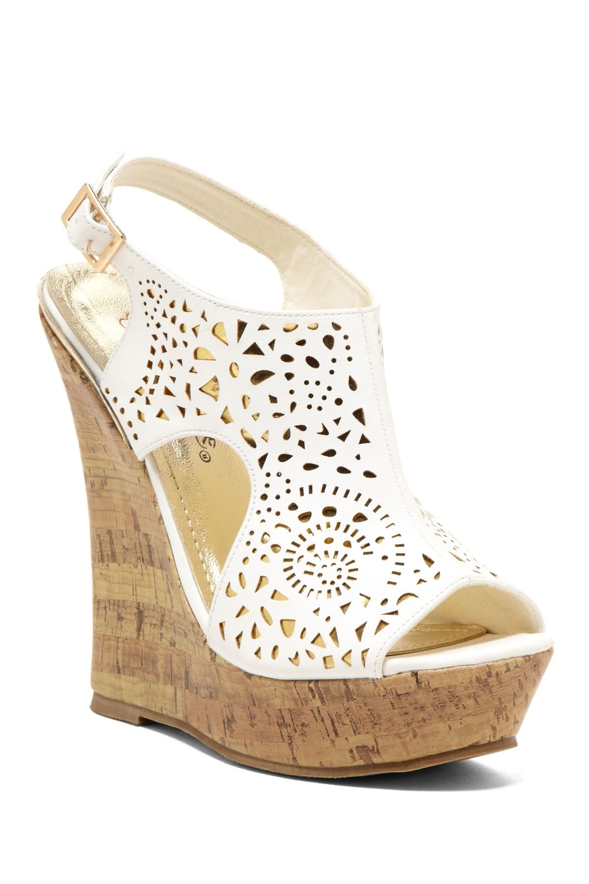 Nanti Laser Cut Wedge Sandal Just Wish I Didn T Trip In