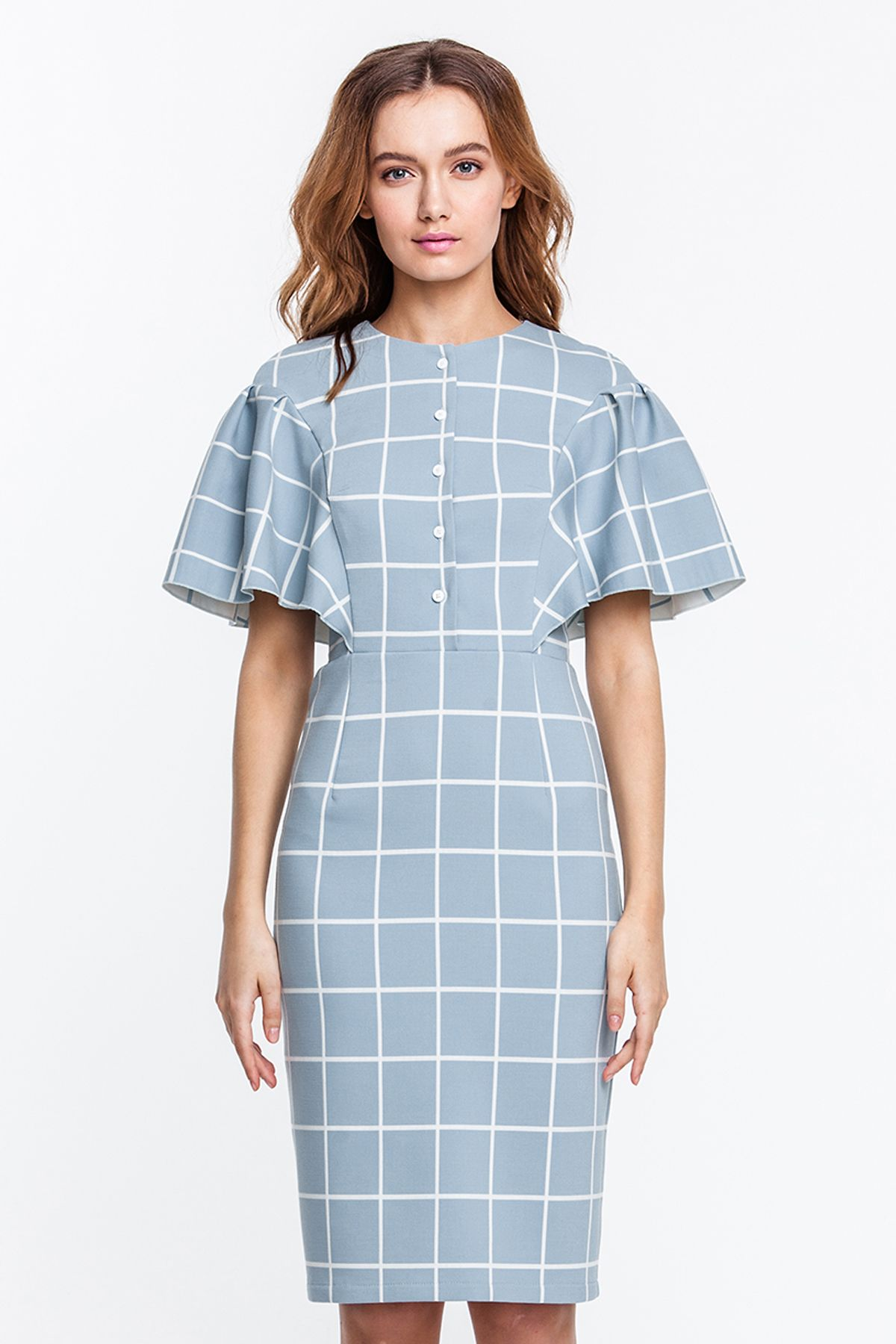 490550739446152 2264 Платье-футляр голубое в белую клетку, с планкой и пышными рукавами  купить в