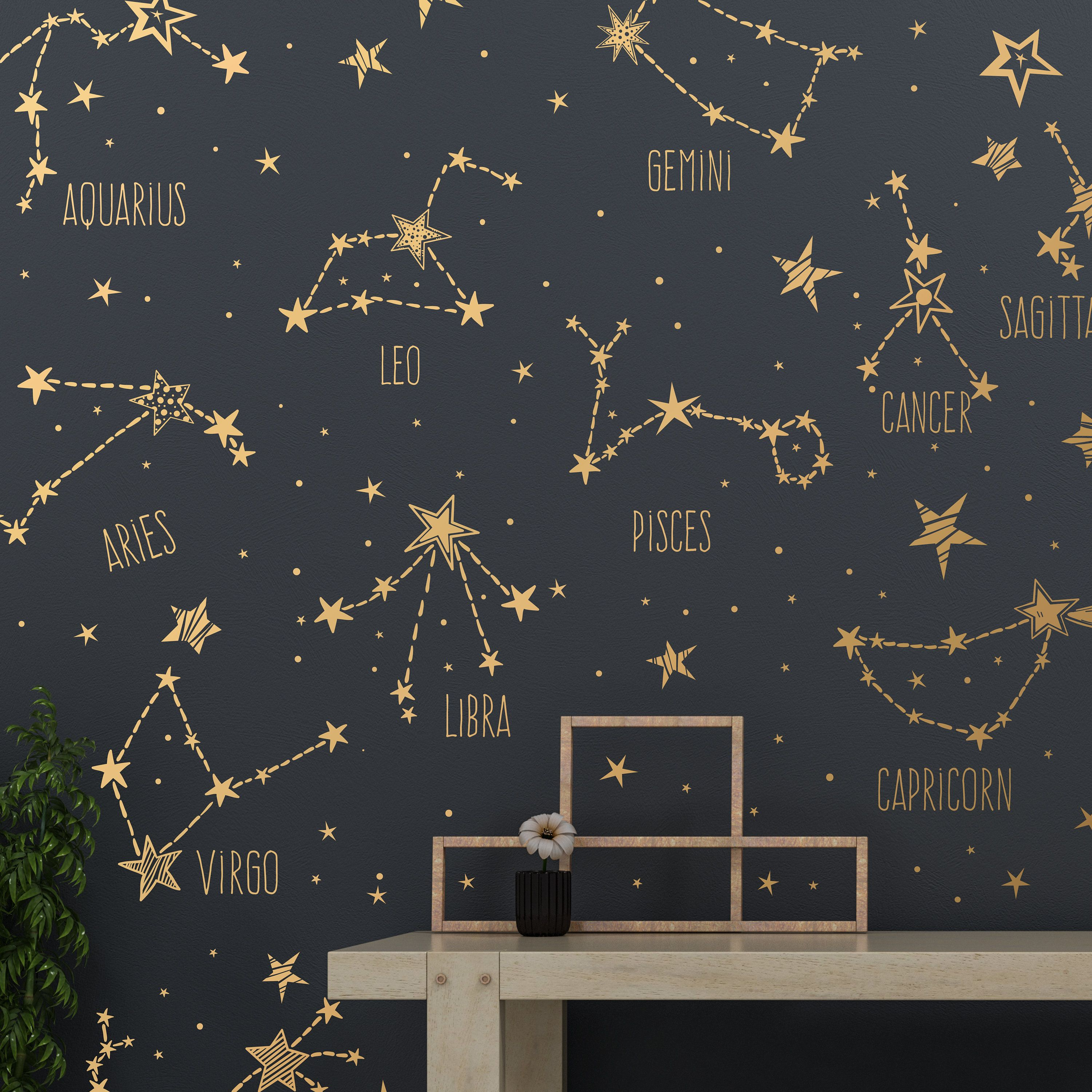 Hand Drawn Zodiac Constellations And Star Decals Large Collection Wall Decals Stickers Murals With Images Constellation Wall Art Constellations Star Decals