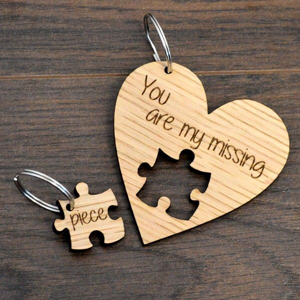 Personalised Wedding Day Gift 2x Jigsaw Puzzle Oak Keyring Anniversary Birthday