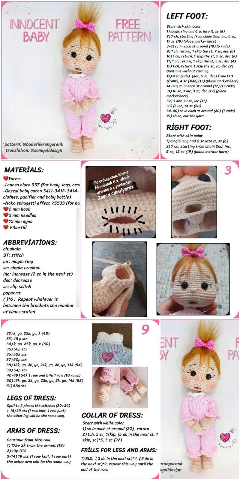 Amigurumi Doll İnnocent Baby Free Crochet Pattern - Örgü Modelleri #crochetdolls