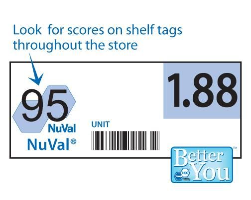 NuVal® is a food scoring system that helps people find more nutritious foods quickly and easily. Scores range from 1 to 100, the higher the score, the better the food is for you. Simply look for higher scoring foods in the grocery store and you'll be on the right track!