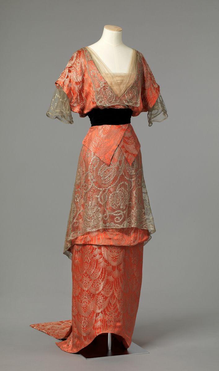 Ephemeralelegance metallic brocade and lace evening dress ca