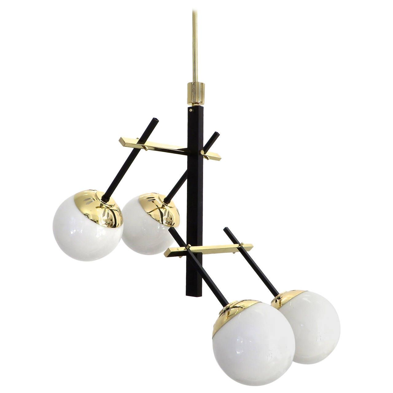Black lacquered brass and glass globe chandelier by stilnovo black lacquered brass and glass globe chandelier by stilnovo aloadofball Gallery