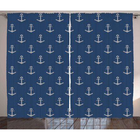 Anchor Curtains 2 Panels Set Nordic Knitwear Theme Retro Scandinavian Winter Fashion Pattern Hipster Oceanic