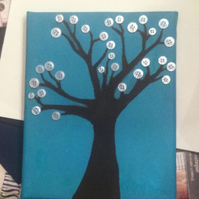 Silhouette button tree painting done by my favorite brother