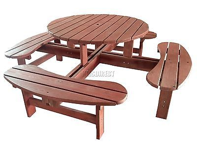 New Seater Wooden Pub Bench Round Picnic Beer Table Furniture - 8 seater round picnic table