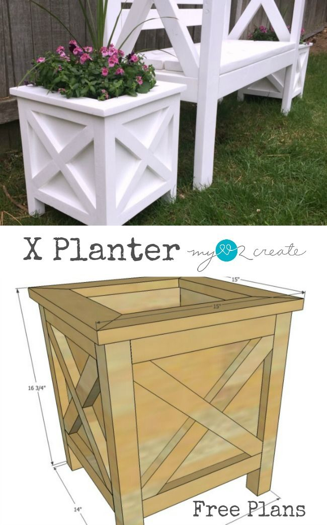 Build beautiful X planters with these FREE plans! They go ... on
