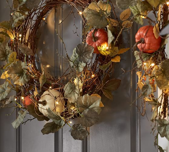Wreaths Garlands Pottery Barn With Images Fall Door Decorations Fall Thanksgiving Decor Pottery Barn Decor