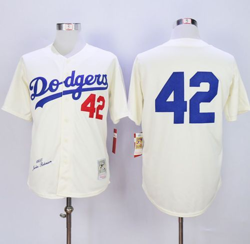 Mitchell and Ness 1955 Dodgers  42 Jackie Robinson Cream Throwback MLB  Jersey 64f5236429c