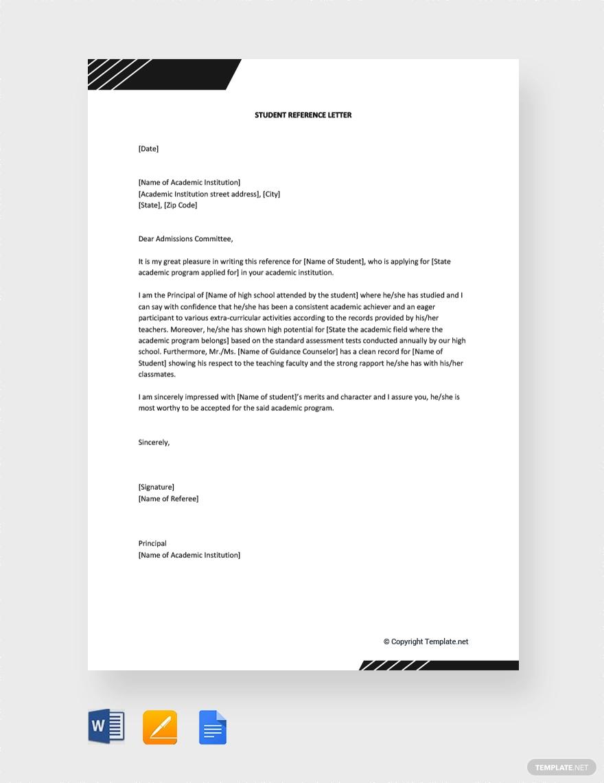 Free Student Reference Letter Reference letter, Letter