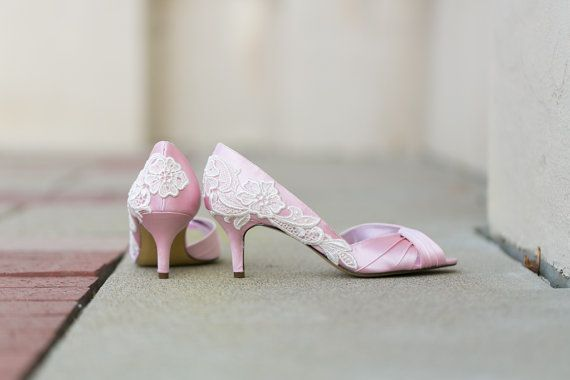 Wedding Shoes Light Pink Heels Bridal With Ivory Lace Us Size 8
