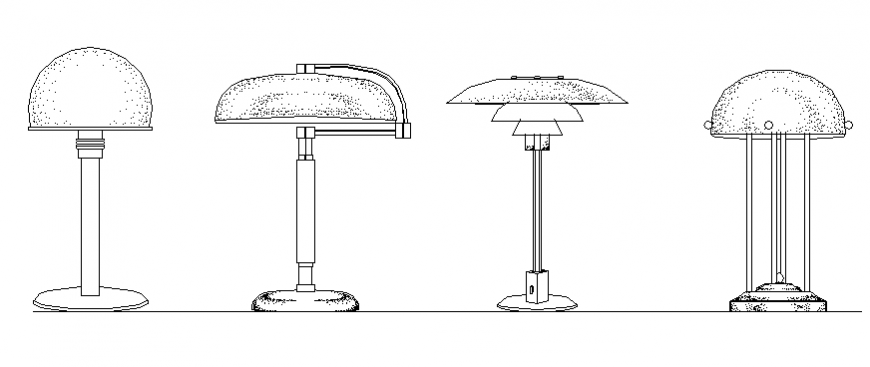 Different 4 types of lampshade drawing in dwg file. (With