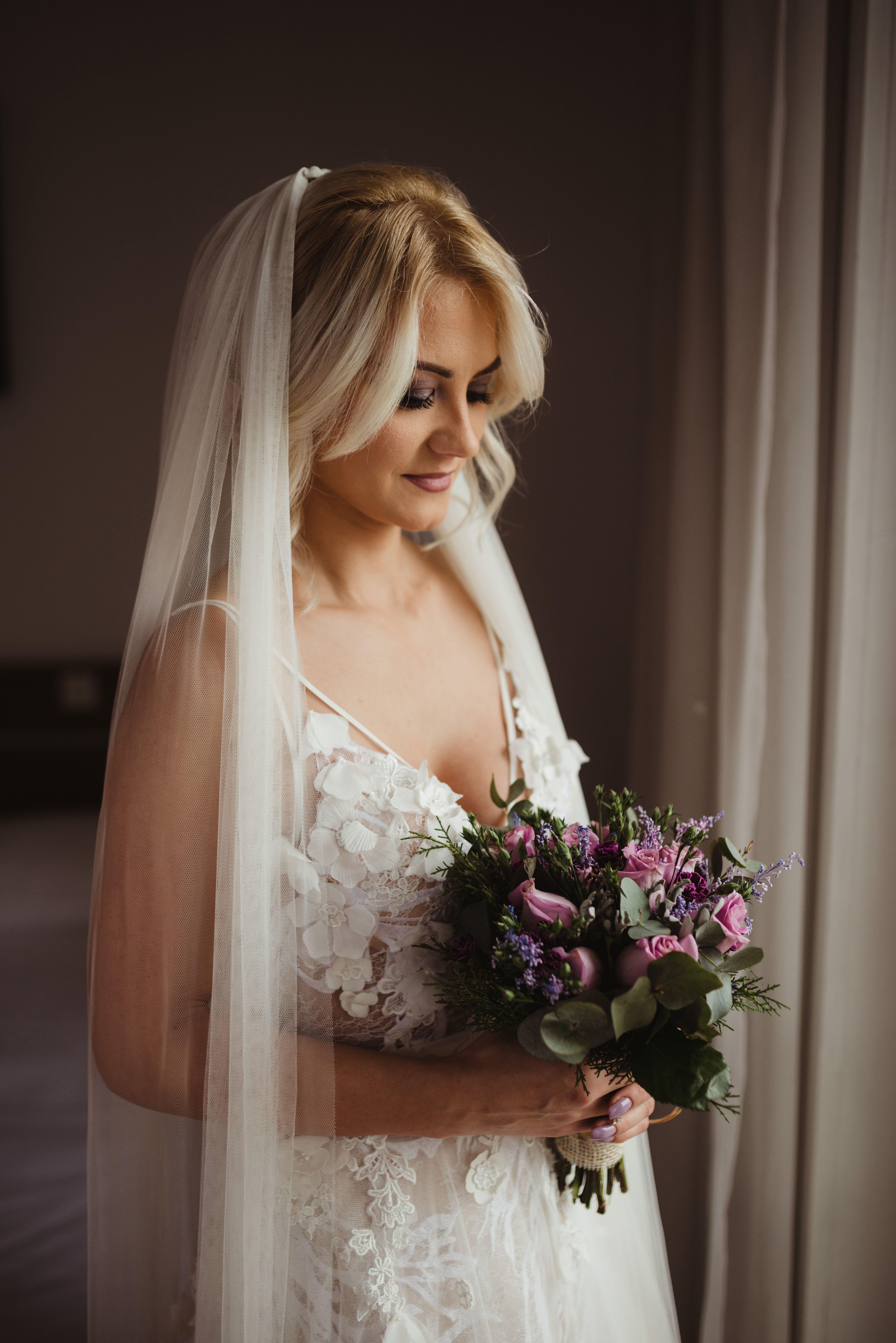 Bride prewedding shoot with 3D floral applique wedding