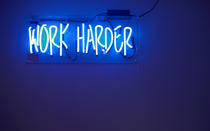 Download Wallpapers Work Harder 4k Motivational Quote Neon Inscription Sign Blue Neon Light Inspiration Besthqwallpapers Com Neon Signs Macbook Air Wallpaper Macbook Wallpaper