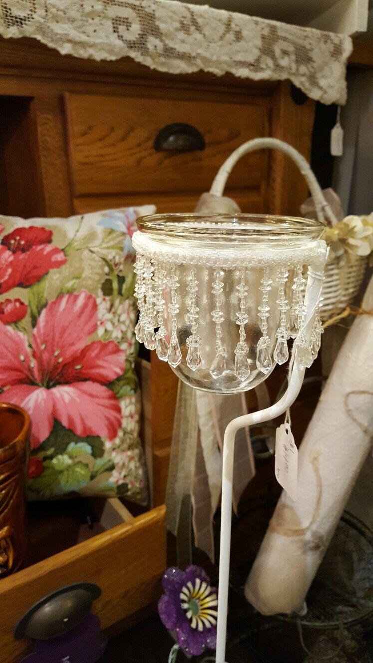 Diy chandelier garden stake diy chandelier diy yard