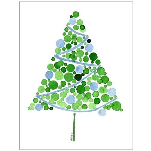 Blue Christmas Tree Watercolor Card Cartes Aquarelle De Noel