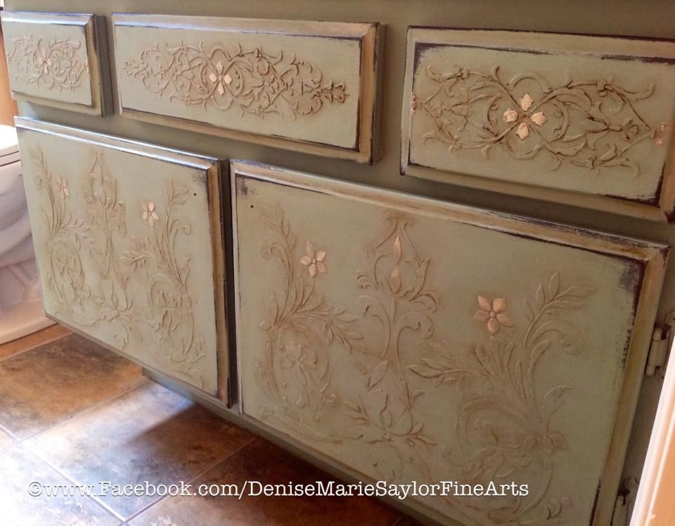 Elegant Stenciled And Painted Furniture Cabinets In Kitchen Or Bathroom Kitchen Makeover Stencil Furniture Painted Furniture Cabinets Furniture Appliques