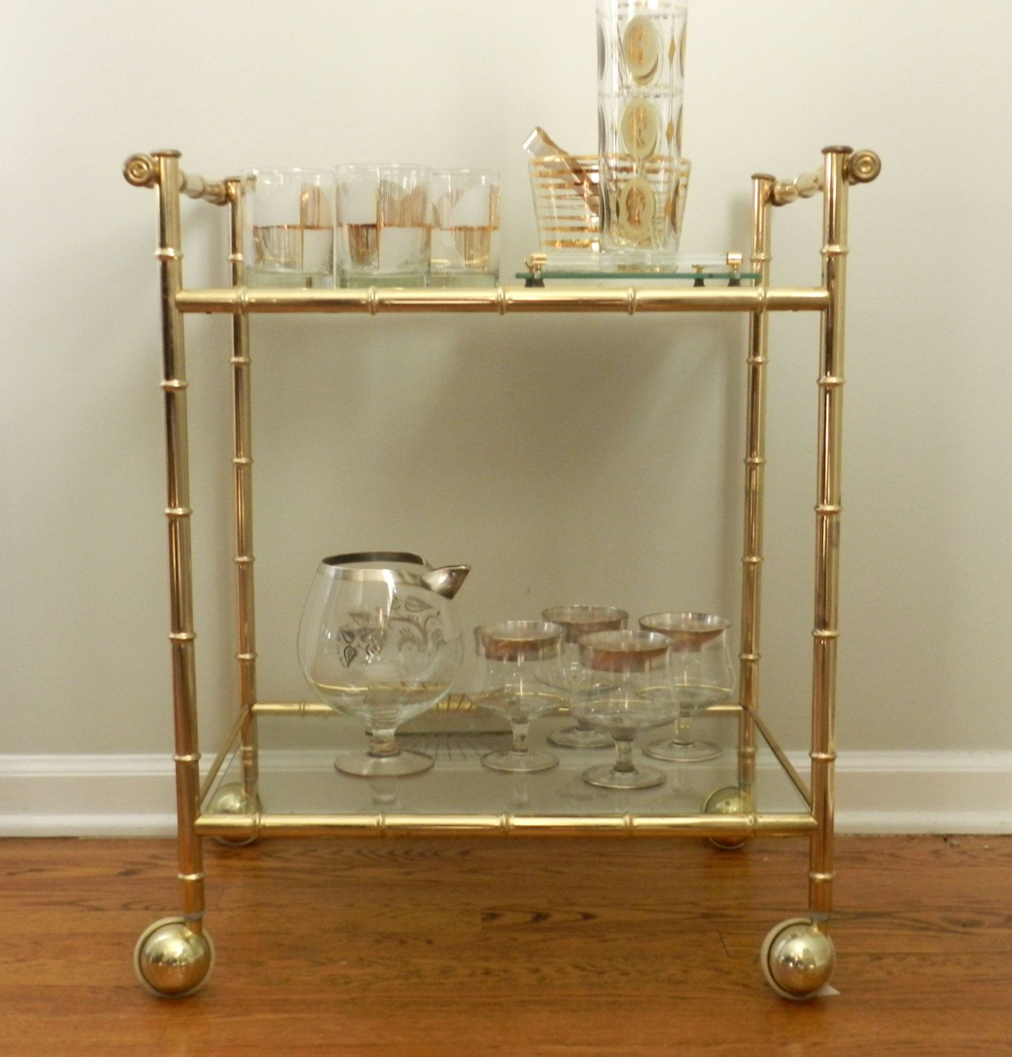 Vintage Bar Cart Gold Metal Faux Bamboo Glass Tiers Rolling Etsy Vintage Bar Carts Bamboo Bar Vintage Bar Gold bamboo bar cart