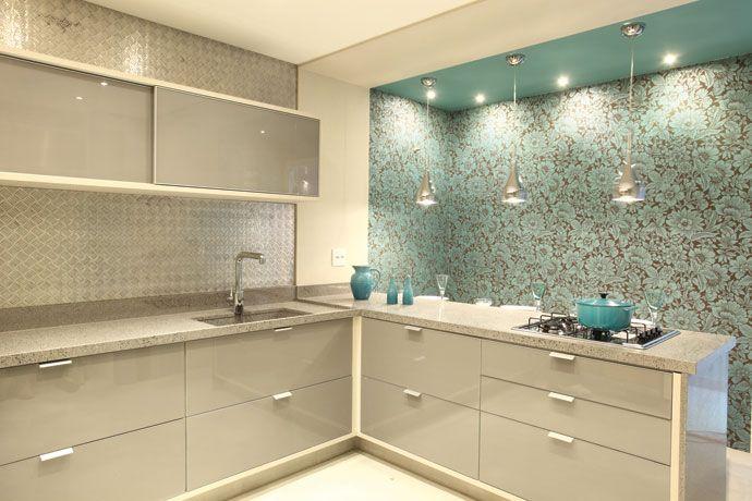 Cozinha cinza e azul Cozinha Pinterest