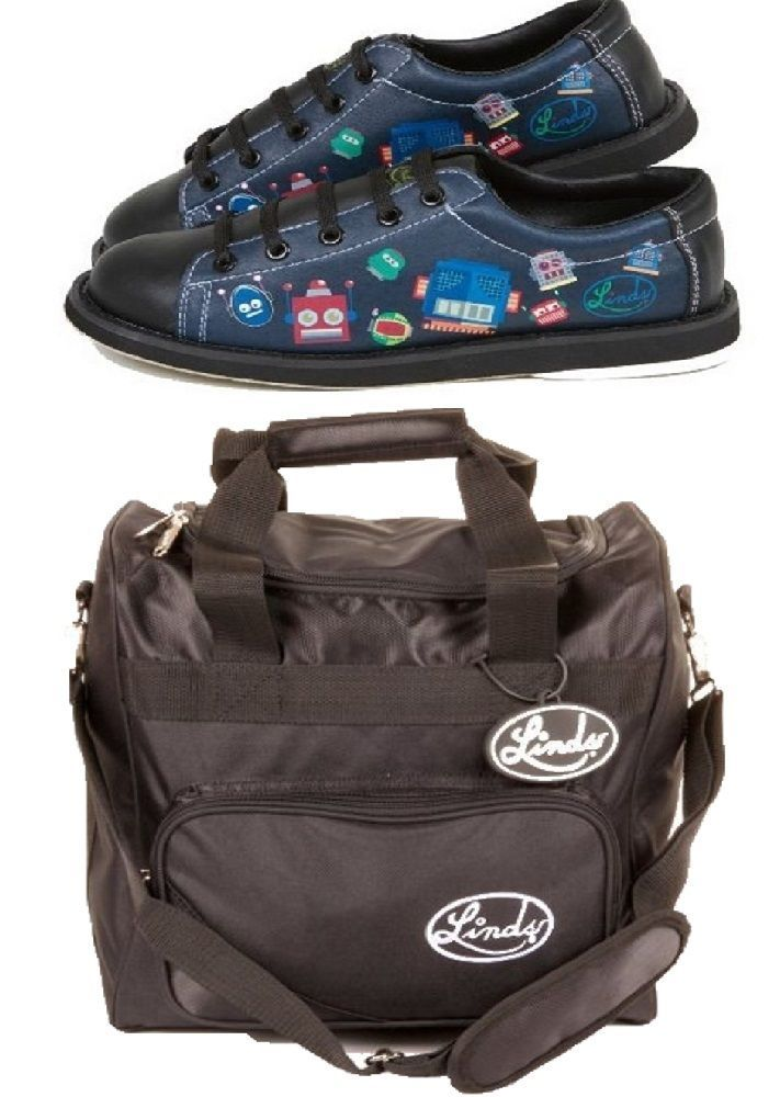 Youth 159108: Boys Black Linds Bot Bowling Shoes Size 3 And Matching 1 Ball Bowling Bag BUY IT NOW ONLY: $49.95