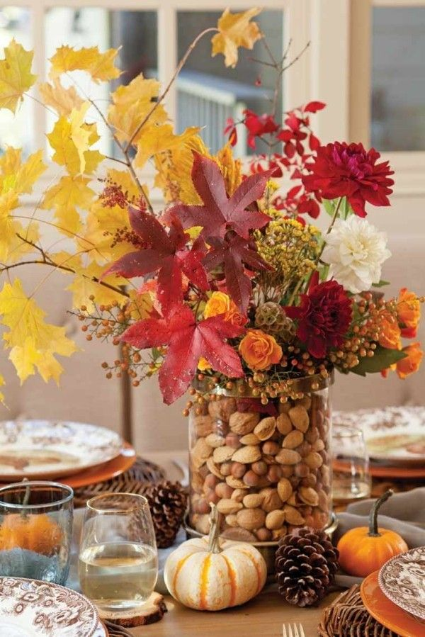 Basteln mit Blättern - 60 + Ideen für mehr Freude im Herbst #herbstlichetischdeko