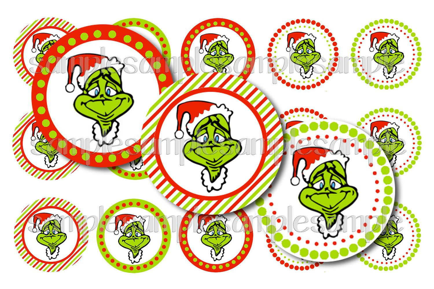 Christmas Grinch Bottle Cap Image Sheet. $2.00, via Etsy.  Hair Bows, Magnets, Pins, Key Chains, Scrapbooking, Party Favors...