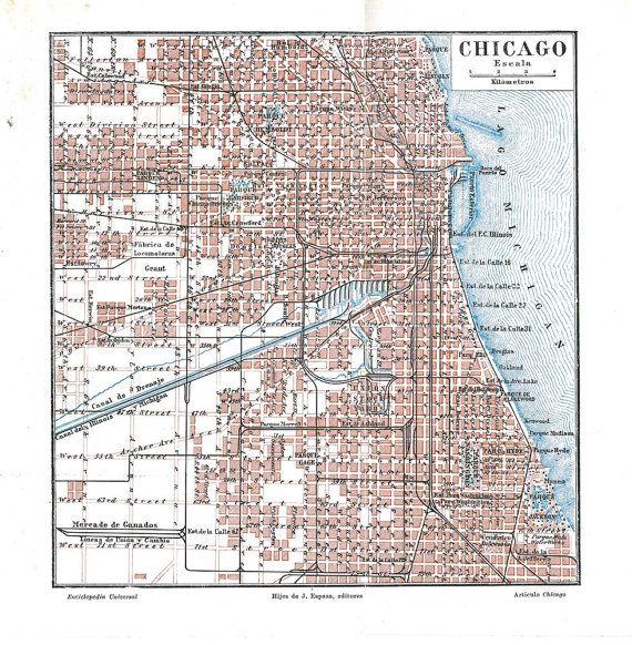 Worksheet. Vintage City Map Chicago United States Street Plan 1920s Retro