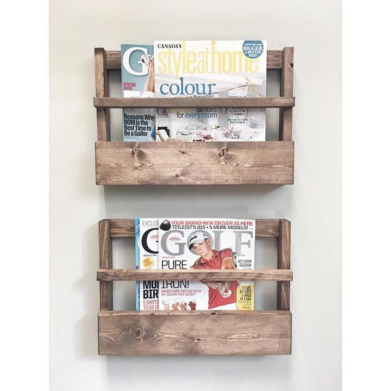 Rustic Wood Magazine Holder Magazine Storage Rack Wall Etsy Wood Magazine Magazine Holders Diy Magazine Holder