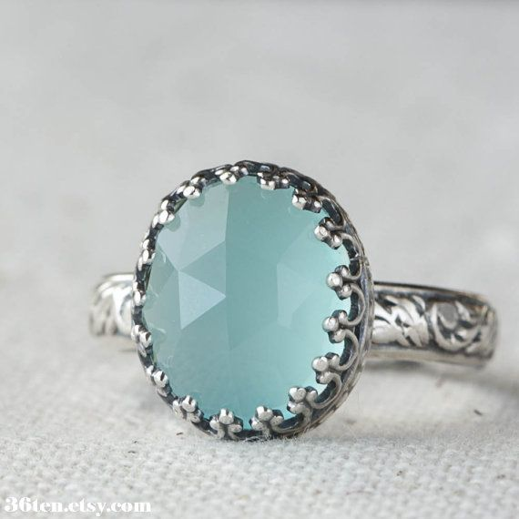 Aqua Blue Chalcedony Cocktail Ring in Sterling Silver