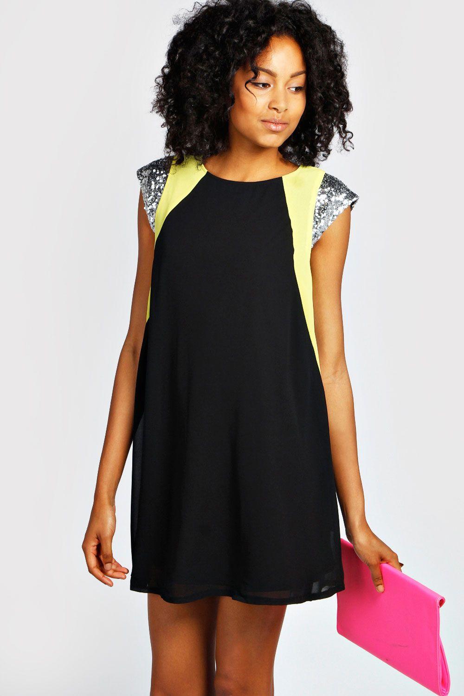 d875c6c16d Tanya Sequin Shoulder Neon Flash Swing Dress