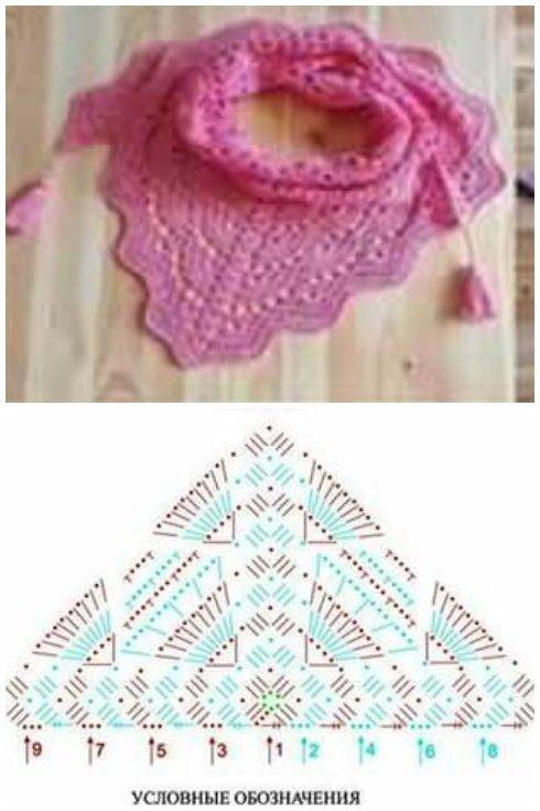 Pañuelo crochet pattern | Denenecek Projeler | Pinterest | Croché ...