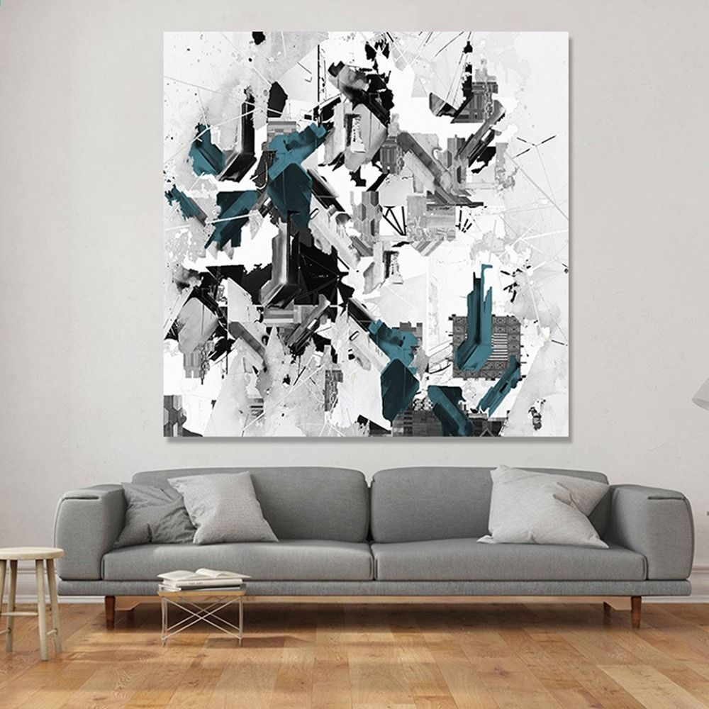 Nordic abstract graffiti canvas painting simple gray blue ink