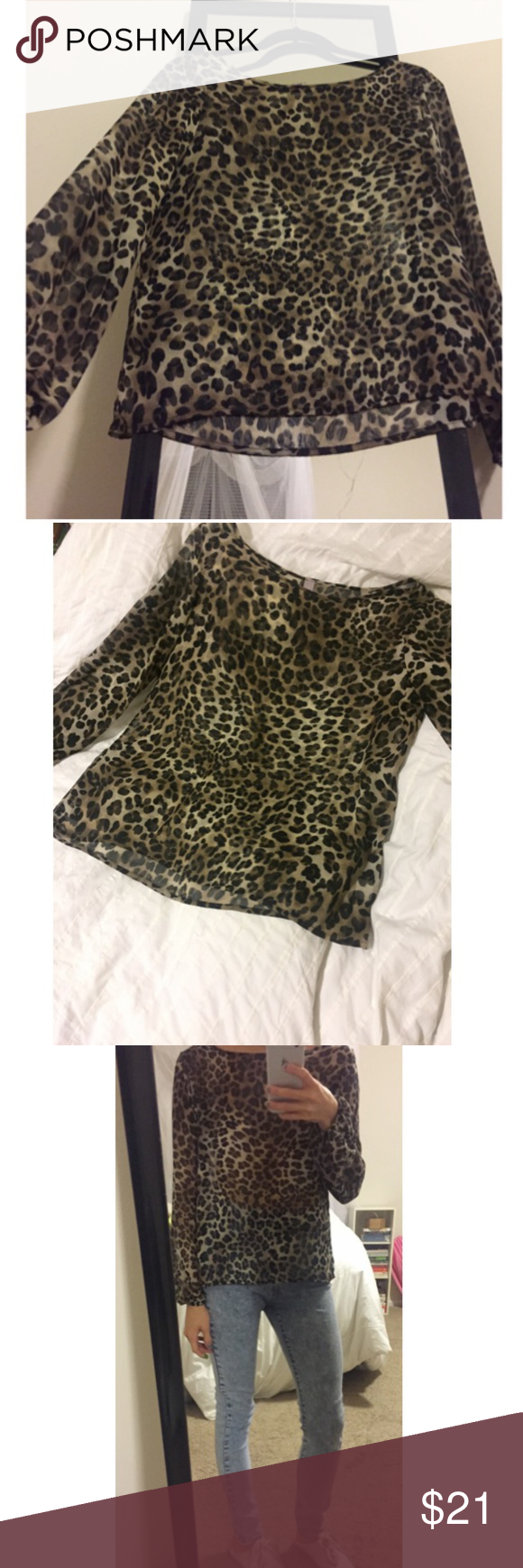 Silky leopard print blouse This beautiful too has elastic sleeves that are so flattering. It can be dressed up or down, which I've demonstrated in the photos. It has been worn a few times but is in tip-top shape. I happened to be looking for flaws for you guys, so I noticed one tiny run in the fabric on the left shoulder, so it has been priced accordingly. Feel free to make a reasonable offer. Francesca's Collections Tops Blouses