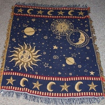 Celestial Tapestry Throw Sun Moon 4 Photo Blanket Rugs