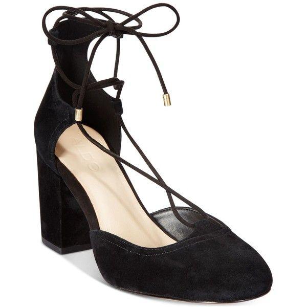 Aldo Women's Franceska Lace-Up Block-Heel Pumps ($90) ❤ liked on