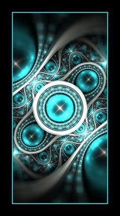 Turquoise black and silver fractal.