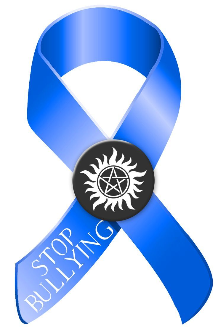 Stop Bullying Blue And Black Awareness Ribbon Logo